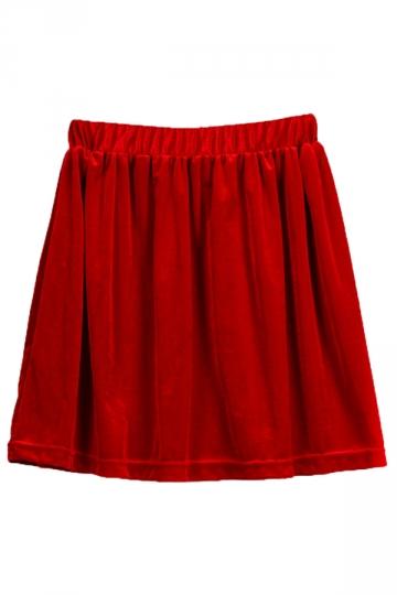 Red Pretty Ladies Vintage Pleuche Pleated Skirt