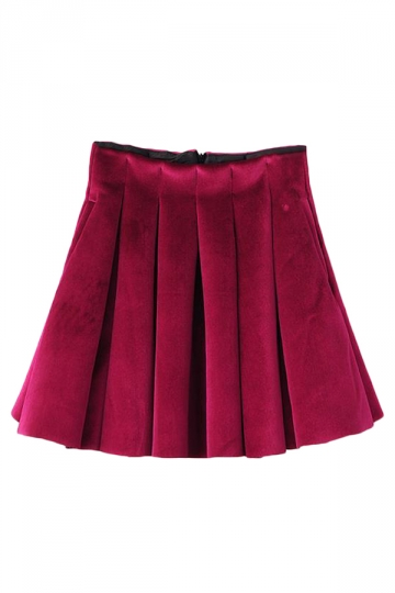 Rose Red Modern Ladies Plain Pleuche Mini Pleated Skirt