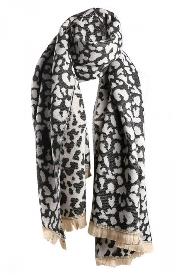 khaki Trendy Womens Fringe Leopard Animal Print Scarf