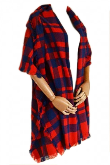 Red Charming Ladies Warm Winter Cape Plaid Scarf