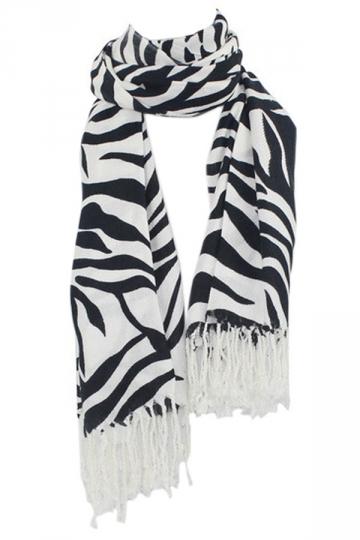 Black Chic Ladies Zebra Striped Tassels Fancy Scarf