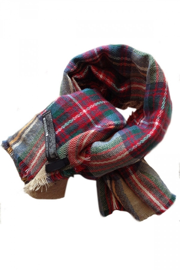 Red Vintage Colorful Plaid Cute Womens Cape Scarf