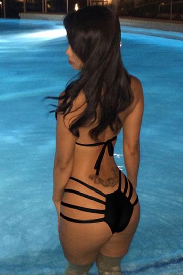 Black Pretty Womens Sexy Halter Crop String Bikini