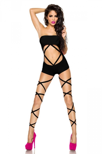 Black Pretty Ladies Halter Crop Cut Out Monokini