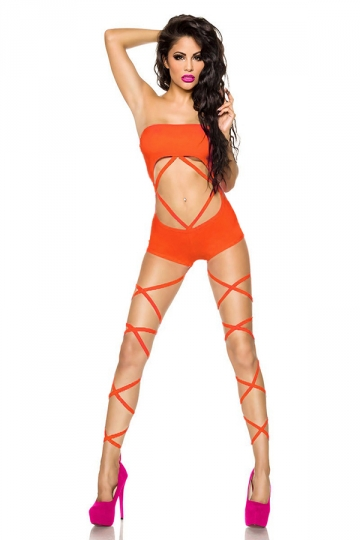 Orange Pretty Ladies Halter Crop Cut Out Monokini
