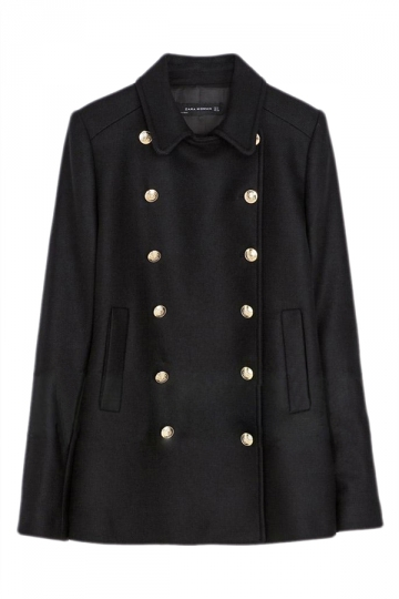 Black Modern Ladies Plain Turndown Collar Woolen Pea Coat