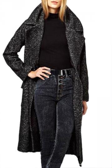 Gray Chic Womens Turndown Collar Long Over Wool Coat