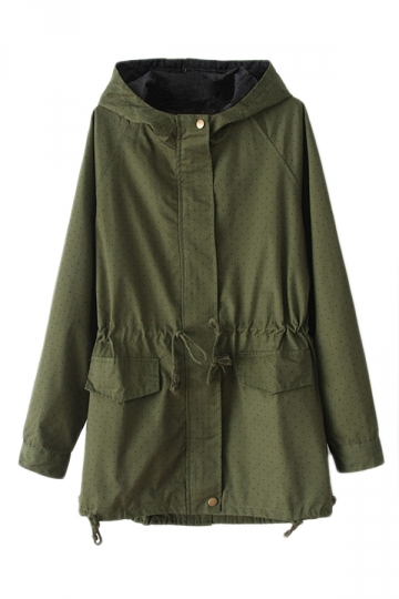 Green Cute Womens Winter Polka Dot Tunic Hooded Parka Coat