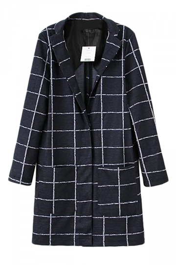 Black Stylish Womens Winter Plaid Turndown Collar Over Coat