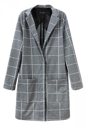 Gray Stylish Womens Winter Plaid Turndown Collar Over Coat
