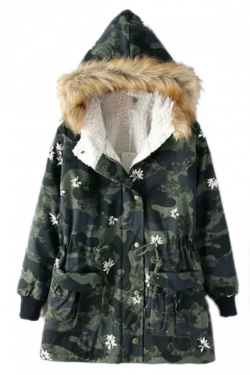 Green Camouflage Printed Floral Tunic Fur Hooded Parka Coat