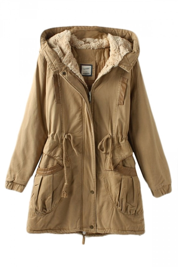 Khaki Vintage Warm Winter Tunic Hooded Womens Parka Coat