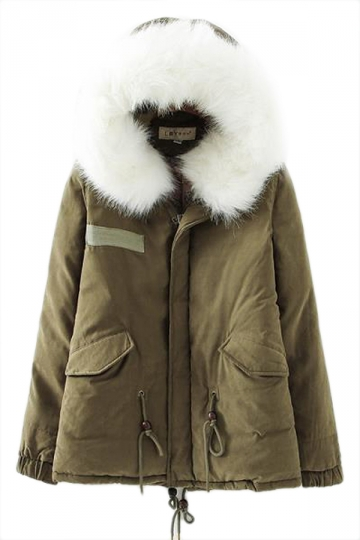 Green Winter Womens Warm Fur Hooded Parka Coat