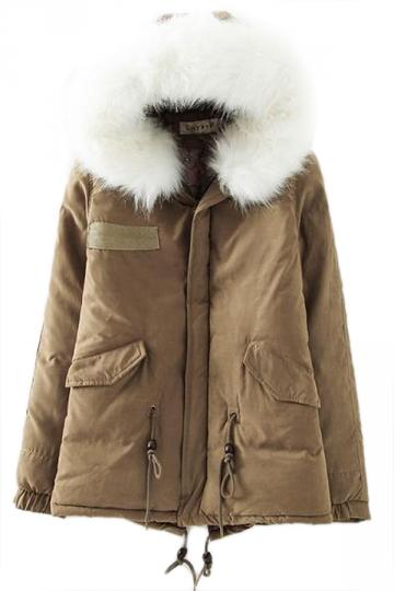 Khaki Winter Womens Warm Fur Hooded Parka Coat