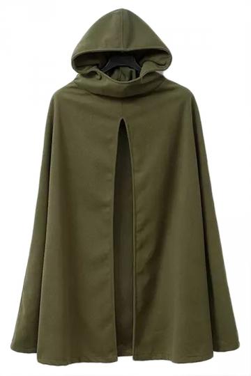 Green Stylish Ladies Plain Warm Winter Hooded Cape Coat