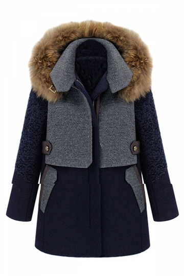 Navy Blue Pretty Ladies Fur Collar Patchwork Thick Parka Coat