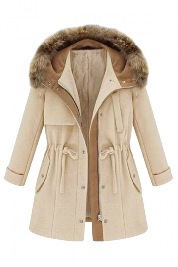 Beige White Pretty Ladies Faux Fur Hooded Tunic Parka Coat - PINK ...