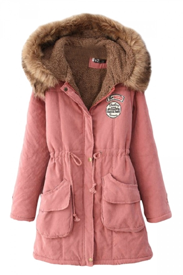 Pink Sexy Womens Tunic Fur Hooded Thick Long Parka Coat - PINK QUEEN