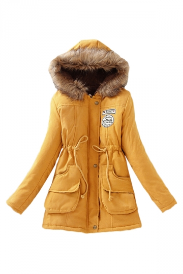 Yellow Sexy Womens Tunic Fur Hooded Thick Long Parka Coat - PINK QUEEN