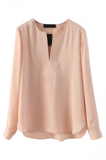 Pink Pretty Ladies V Neck Plain Chiffon Pullover Blouse