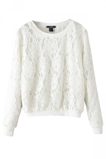 White Simple Womens Crew Neck Jumper Lace Plain Sweatshirt