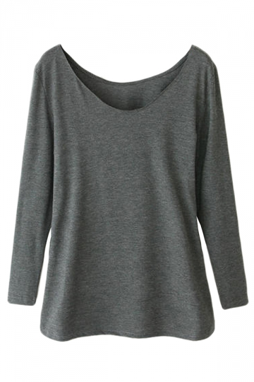 Gray Ladies Crew Neck Plain Long Sleeve Modal Cotton T-shirt