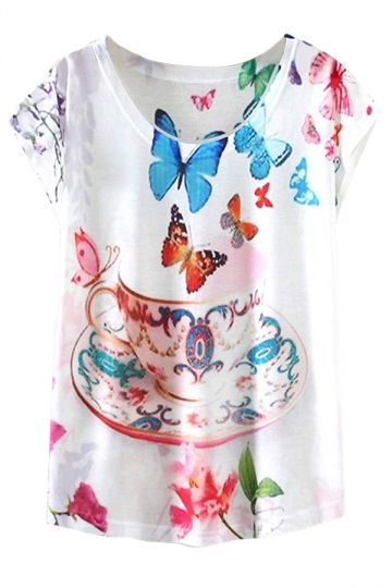 White Womens Crew Neck Butterfly Printed Short Sleeve T-shirt