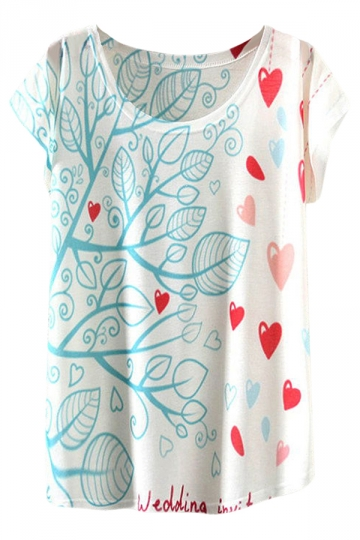White Ladies Crew Neck Short Sleeve Tree Heart Printed T-shirt