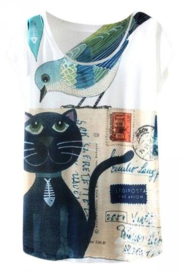 White Cute Ladies Crew Neck Cat Bird Printed Short Sleeve T-shirt