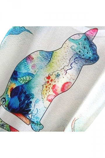 White Stylish Ladies Crew Neck Short Sleeve Cat Printed T-shirt