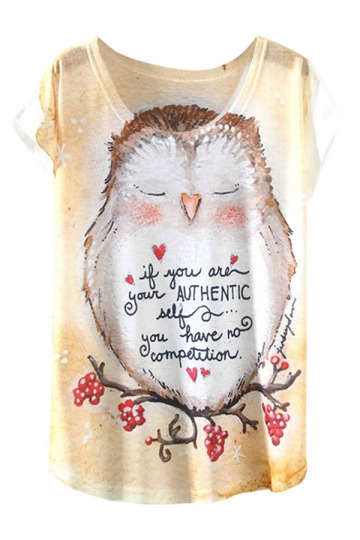 White Ladies Short Sleeve Crew Neck Owl Alphabet Printed T-shirt