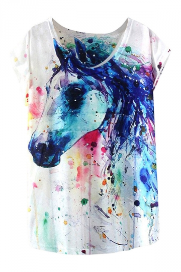 White Short Sleeve Crew Neck Colorful Horse Printed T-shirt