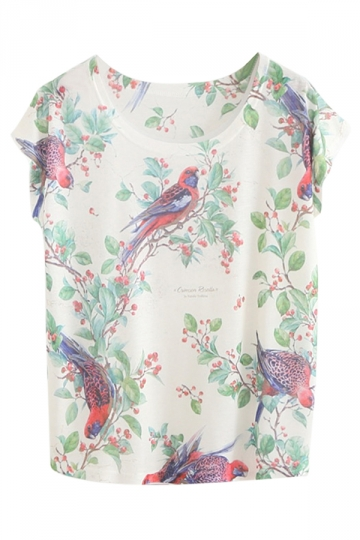 White Trendy Ladies Magpie Printed Crew Neck Short Sleeve T-shirt