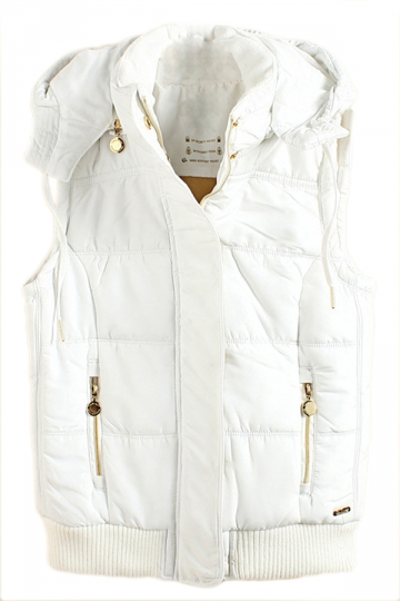 White Charming Womens Warm Winter Quilted Hooded Vest