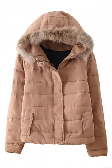 Khaki Cool Womens Winter Warm Plain Fur Hooded Quilted Car Coat