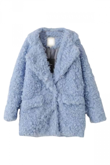 Blue Pretty Laides Turndown Collar Plain Warm Fur Coat