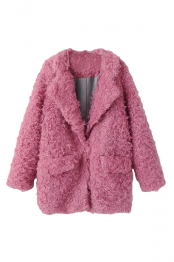 Pink Pretty Laides Turndown Collar Plain Warm Fur Coat