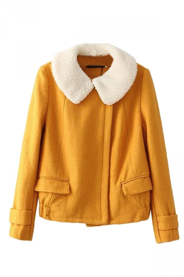 Yellow Cute Womens Plain Warm Winter Wool Car Coat