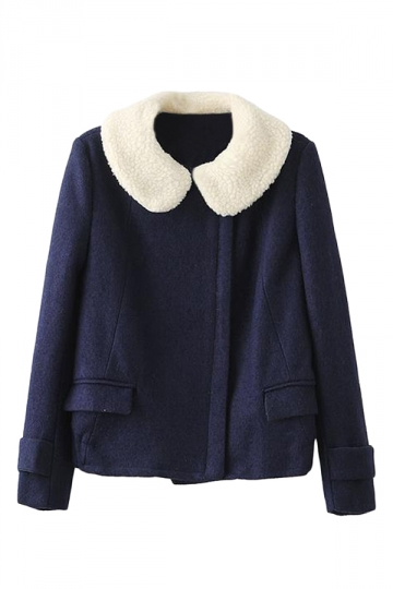 Navy Blue Cute Womens Plain Warm Winter Wool Car Coat
