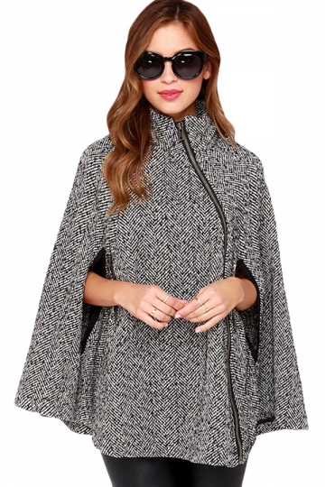 Gray and White Diagonal Zipper Winter Warm Cashmere Cape Coat