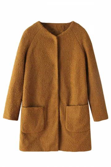 Khaki Sexy Ladies Mohair Winter Warm Plain Tweed Over Coat