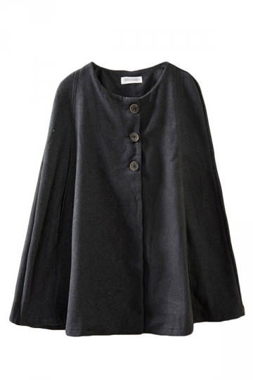 Black Pretty Womens Warm Winter Tweed Cape Coat