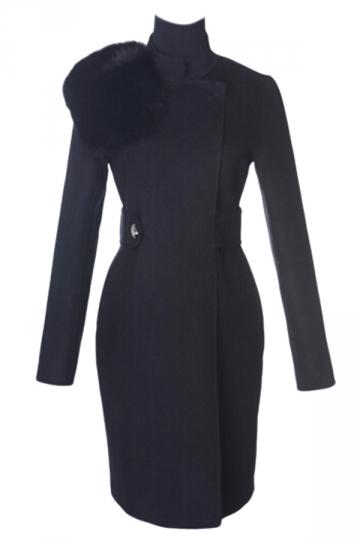 Black Trendy Womens Fox Fur Collar Warm Winter Tweed Coat