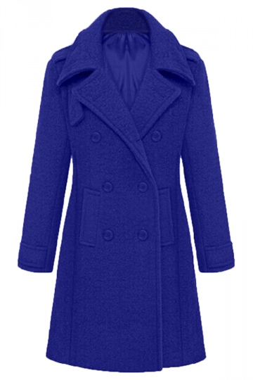 Blue Stylish Ladies Plain Turndown Collar Pea Long Tweed Coat