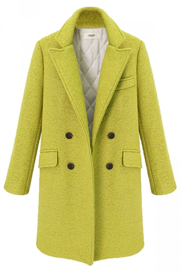 Yellow Chic Ladies Plain Turndown Collar Pea Tweed Coat