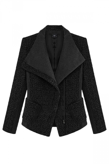 Black Tweed Womens Fashion Slim Lapel Thick Coat Blazer