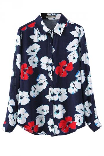 Navy Blue Charming Ladies Turndown Collar Floral Printed Blouse
