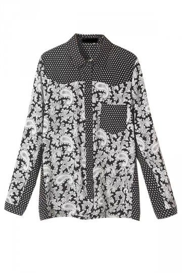 Gray Ladies Long Sleeve Floral Polka Dot Printed Blouse
