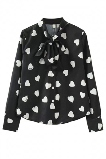 Black Stylish Ladies Long Sleeve Lace Up Bow Heart Printed Blouse