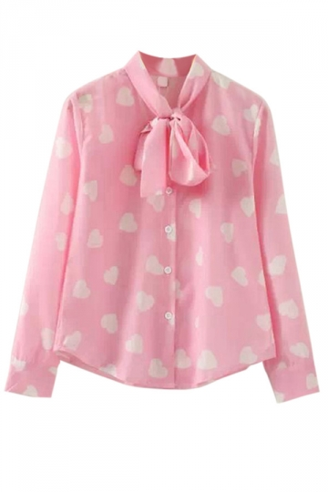 Pink Stylish Ladies Long Sleeve Lace Up Bow Heart Printed Blouse